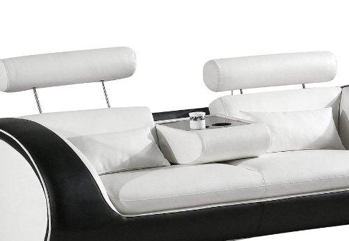 SAM® Design Garnitur Vigo 3 teilig in Weiß / weiß / schwarz futuristisches Design by Ricardo Paolo 3-Sitzer Couch 230 cm 2-Sitzer 152 cm und Sessel 108 cm mit Getränkehalter Kopfstützen verstellbar angenehme Polsterung montiert Auslieferung durch Spedition - 5
