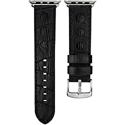 Geckota® Alligator & Lizard Rally Leather Watch Strap Black with Black Stitching for Apple Watch 38mm