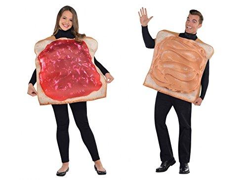 amscan Pärchen-Kostüm Frühstücksfreunde Erdnussbutter und Marmelade