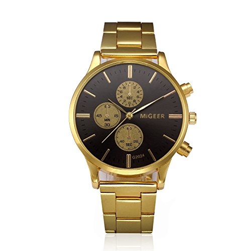 Clara  Fashion Man Crystal Stainless Steel Analog Quartz Wrist Watch (Black) Lg Black Crystal