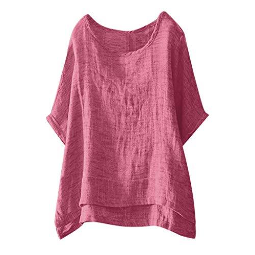 Ärmelloses Baumwoll-mock Hals (Damen Tunika Tops Sommer Kurzarm T-Shirt O Hals Baumwolle Leinen T-Shirt Shirt Tops Bluse Dünnschliff Bequem Lässig Sommer Basic T-Shirt Tops Fledermaus)