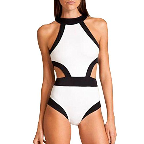 ASWER da donna One Piece collo alto Cut Out Bikini Costumi da bagno beachwears Bianco