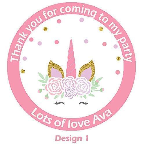 Treasured forever 24 x personalizzato unicorno compleanno adesivi per la festa ringraziamenti cono per dolci sacchetti - design 1