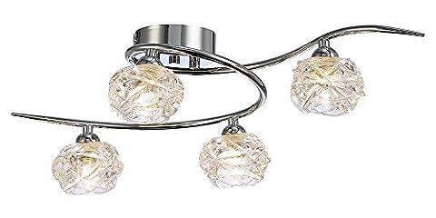 Lumière de plafond contemporaine avec quatre nuances de verre claires par Haysoms