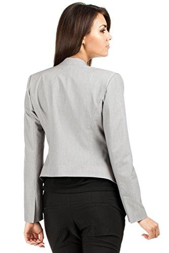 MOE Elegante Jacke Jackett Sakko mit Reißverschluss Grau