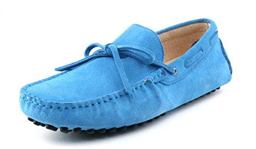 Men's Minitoo Nouveau nœud de route Loafers Penny bateau en daim pour chaussures bleu bébé
