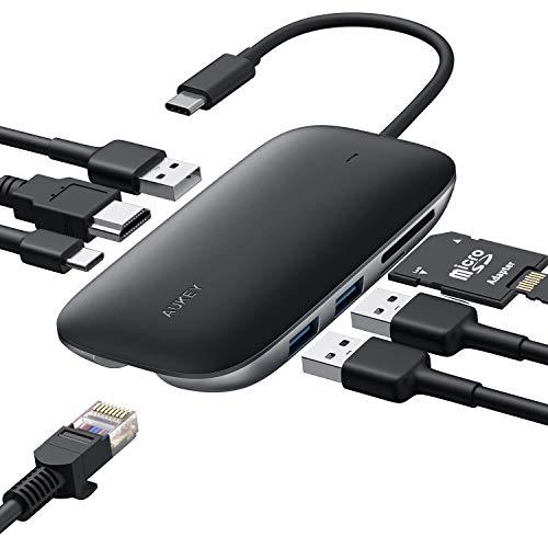 AUKEY HUB USB C 8 en 1, Adaptador USB C Carga PD 100W, Ethernet Rj45 1Gbps, HDMI 4k, 3 Puertos USB 3.0, Lector Tarjetas SD/TF, Concentrador Compatible con MacBook Pro, Chromebook Pixel, Samsung