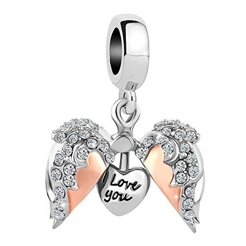 Sug Jasmin Breloque en Forme de cœur avec Ailes d'ange Ouvertes pour Bracelets à Breloques européens