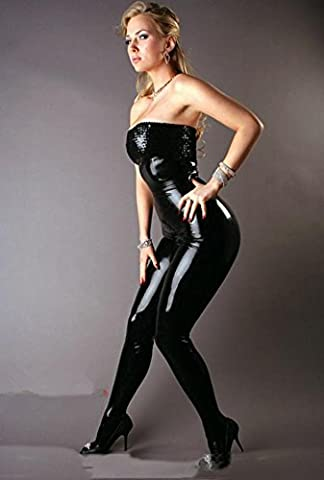 DFL Women 's night skirt black Cosplay Costume Party Sexy Bra piece patent leather clothing , figure , m