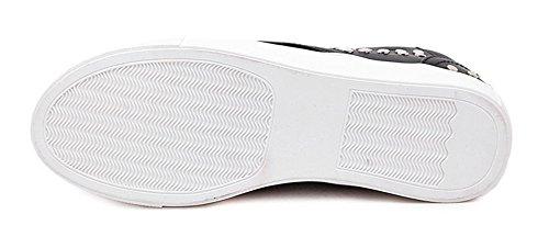 Aisun Damen Niet Dicke Sohle Plattform Lässige Sportliche Flache Sneakers Schwarz