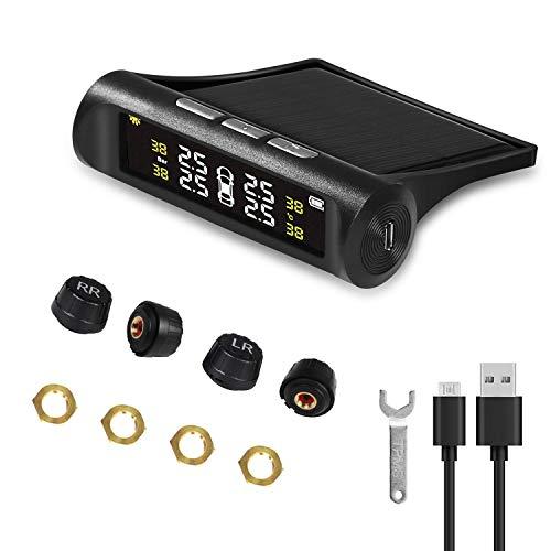 URAQT Reifendruckkontrollsystem Auto TPMS, Solar Energy Reifendruck Kontrollsystem Reifendruckmesser mit 4 Sensoren, LCD Display Temperatur Anzeige Solar, USB Ladeverfahren für Auto, SUV, KFZ