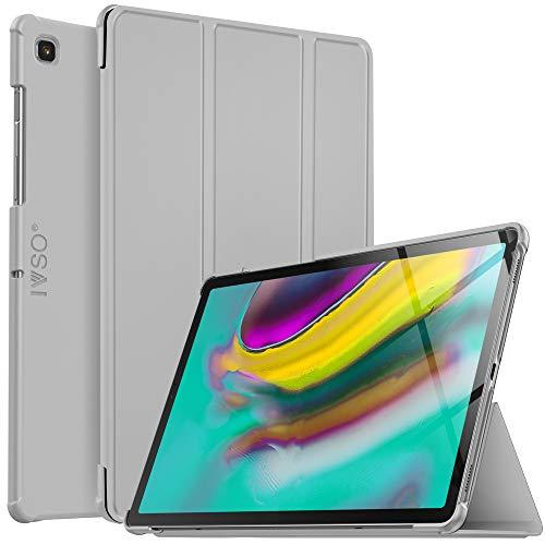 IVSO Hülle für Samsung Galaxy Tab S5e T720/T725 10.5, Ultra Schlank Slim Schutzhülle Hochwertiges PU mit Standfunktion Geeignet für Samsung Galaxy Tab S5e 10.5 T720/T725 10.5 Zoll Release, HJ-Grau
