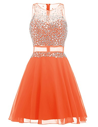 Dresstells Damen Kurz Chiffon Homecoming Kleider Chiffon Cocktail-Kleider mit Friesen Orange