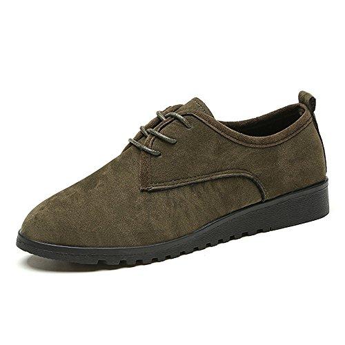 Weien Shop Scarpe Stringate Basse Suede Flats Allacciare Moda Shoes Nero Marrone Verde 35-40 Verde-scuro