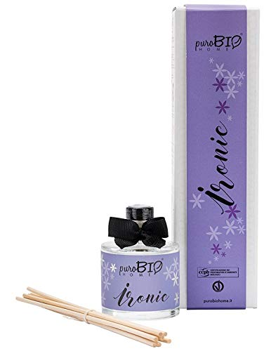 Purobio - diffusore di fragranza ironic - lavanda e vaniglia - profumatore per ambienti biologico, naturale e vegano - con 7 midollini per la diffusione - 100 ml