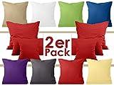 Doppelpack zum Sparpreis - Baumwoll-Kissenbezüge - moderne Wohndekoration in schlichtem Design - 8 modernen Uni-Farben und 3 Größen, 80 x 80 cm, rot
