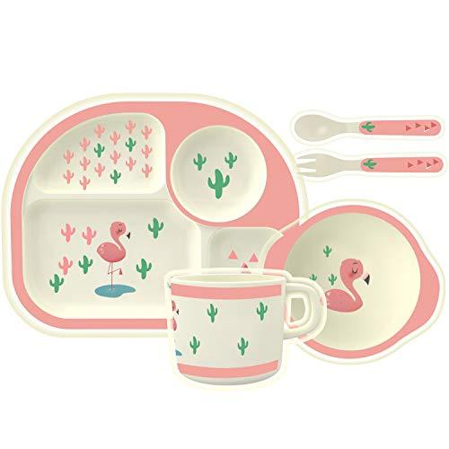 HOMEWINS Kindergeschirr Set aus Bambus 5 teilig - Teller, Schüssel, Löffel, Gabel, Tasse, BPA Frei Lernbesteck Geschirr Sets für Kinder ab 6 Monaten (Flamingo)