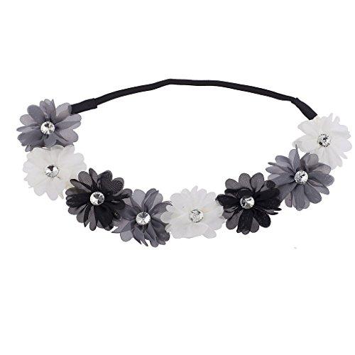 rau Schwarz Kristall Stein Floral Elastic Headwrap Stirnband ()