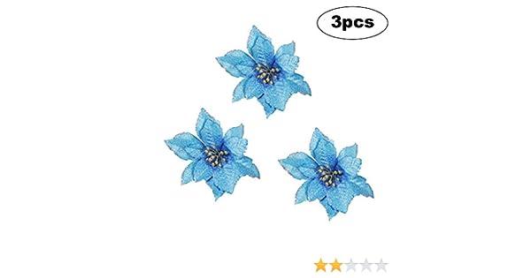 3PC Bleu 15 cm // 5,9 Pouces Arbre Artificiel Poinsettia Fleurs de No/ël Ornement Couleur Fausse Fleur dornement pour Halloween Party Family Wedding Garden