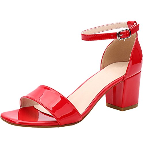 Vogstyle Nuovo Donna Sandali Punta Aperta Alla Caviglia Scarpe Con Cinturino Stile 3-Rosso