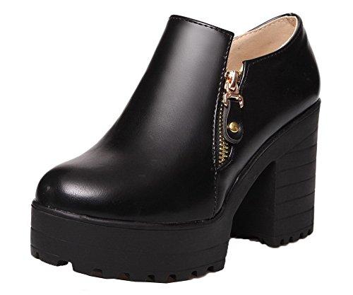 VogueZone009 Femme Matière Mélangee Zip Rond à Talon Haut Chaussures Légeres Noir