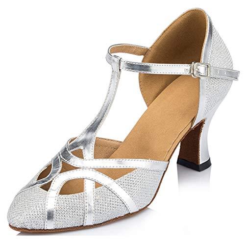 Minitoo qj6133Damen Geschlossen Zehen High Heel PU Leder Glitzer Salsa Tango Ballsaal Latin t-strap Dance Schuhe, Silber Glitter/Silver-7cm Heel,38 EU/5.5 UK