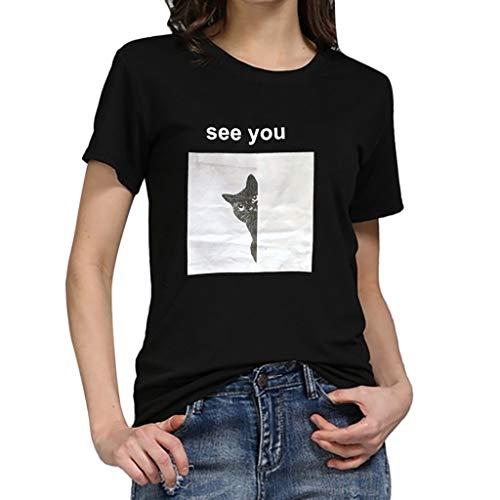 Qmber Frühling Sommer Elegante Damen Plus Größe Dot Print Lose Baumwolle Casual Täglichen Party Strandurlaub Kurzarm Shirt Vintage Herren Unisex Chor Kostüm Paar tragen/Black2,L
