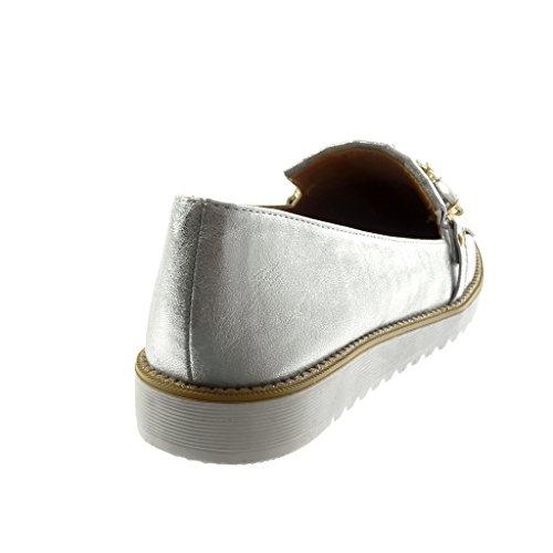 Angkorly Scarpe Moda Mocassini Slip-On Donna Gioielli Frange Lucide Tacco Tacco Piatto 2.5 cm Argento