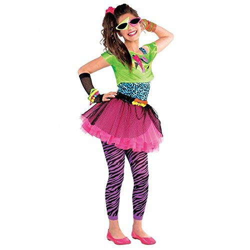 Mädchen 80er Top Rock Leggings Teens Totally Awesome Fancy Kleid Kostüm Retro 70er Jahre Mädchen Outfit Rave Neon Pop ()
