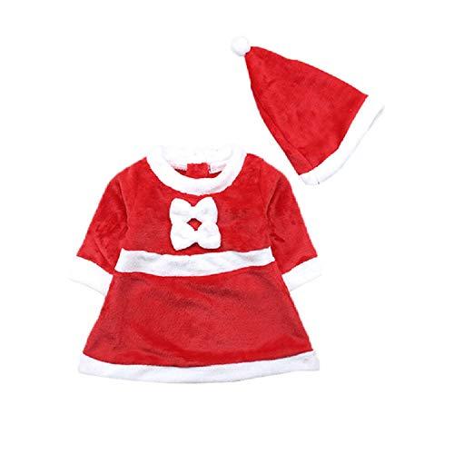 hnachten Neugeborene Mädchen Kleid + hat 2 Stück Set (6-9 Monate, Rot) ()