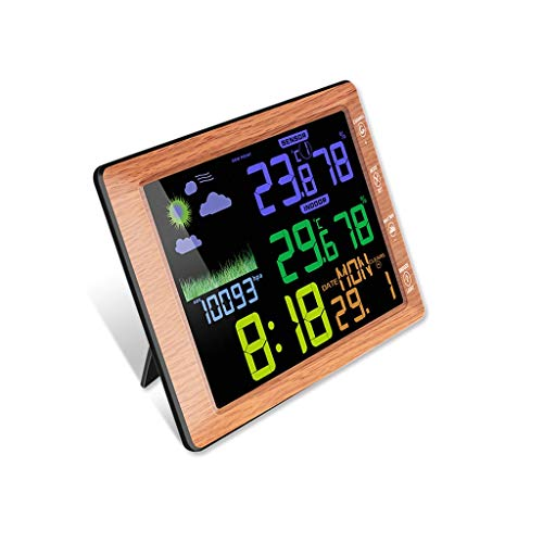 King Boutiques Weather Clock Wireless Thermometer Hygrometer Indoor Outdoor Wetterstation Temperatur-Und Feuchtigkeitsmessgerät Farbbildschirm Wecker Haushaltsgegenstände