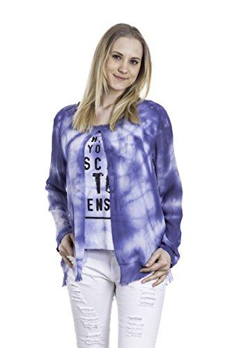 Abbino Femke Chemisiers Blouses Tops Femmes Filles - Fabriqué en Italie - 5 Couleurs - Été Automne Chemises Manches Longues Elegante Vintage Classique Casual Sexy - Taille Unique (38-42) Bleu