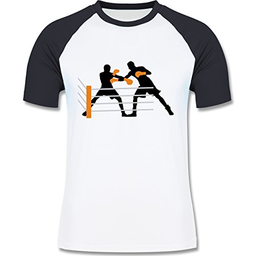 Kampfsport - Boxer im Ring - zweifarbiges Baseballshirt für Männer Weiß/Navy Blau