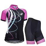 Femmes Vélo Cyclisme Respirant à séchage Rapide Maillots Set, Jersey Cycle Manches Courtes Veste + 3D Coussin Rembourré Serré Shorts Pantalon