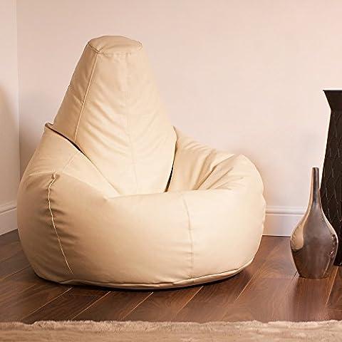 Bean Bag Bazaar® Gaming Bean Bag Designer Recliner CREAM Faux Leather - Extra Large Beanbag Chair