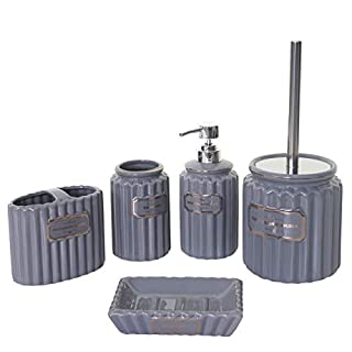 Mendler 5-teiliges Badset HWC-C96, WC-Garnitur Badezimmerset Badaccessoires, Keramik grau/Gold