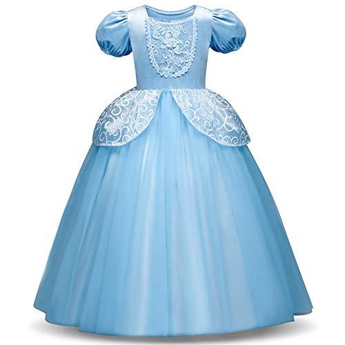 Queenromen Kinder Mädchen Prinzessin Fairy Costume Fancy Dress Cosplay Party Tüll Abschlussball Kleider(for Height 140cm Blau) (Dress Kleidung Up Für Princess Kleinkinder)