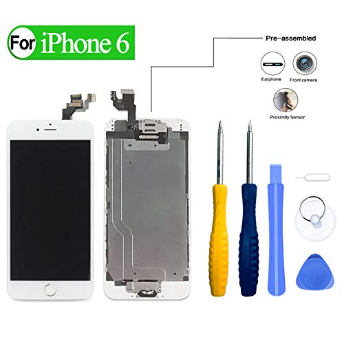 HDXYW Für iPhone 6 Weiß vormontiert Ersatz Display LCD Touchscreen Bildschirm Front Glas Weiß Home Button, Hörmuschel,Frontkamera & Näherungssensor mit Reparaturset Werkzeuge (Iphone Ersatz Front-bildschirm 6)