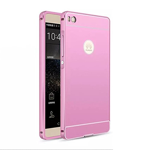Huawei P8 lite Cover fantasia, Fugou® Protettiva Custodia Per Huawei Ascend P8 Lite Hybrid Combo Body Armor Metal Bumper Frame Case with Hard PC Back Cover Protector Shield Rosy