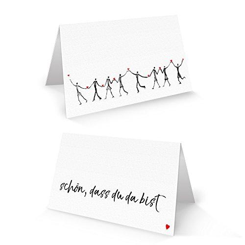 100 HERZMENSCH Tischkarten Namensschilder Text SCHÖN DASS DU DA BIST schwarz weiß rot Herz Tischdeko Hochzeit Taufe Geburtstag Firmung Jubiläum Fest