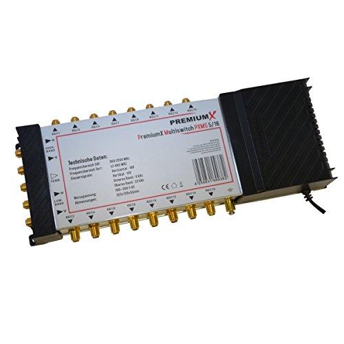 PremiumX Multischalter PXMS-5/16 Multiswitch Matrix 5-16 mit Netzteil Sat Digital Switch für 16 Teilnehmer HDTV 3D 4K