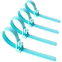 [50 Pieces] Reusable Cable Ties, Canwn Nylon Heavy Duty Zip Ties Mini Flexible Cable Tidies Slipknot Straps(Blue)