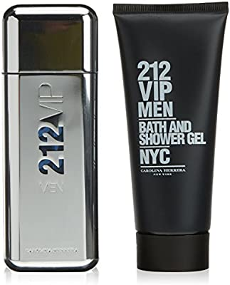 Carolina Herrera 212 VIP MEN - Pack con 2 piezas ( agua de tocador spray 100 ml y Gel de baño y ducha)