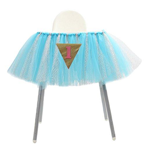 Ketamyy 1 Jahr Altes Kind Geburtstag Esszimmerstuhl Dekoration Gaze Hochstuhl Röcke Tutu Tisch Rock Cover Baby Dusche 2# Blau + Silber 91.5cm*35cm