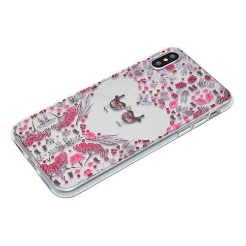 Custodia per iPhone X Cover , YIGA amare uccelli Trasparente Silicone Morbido TPU Shell Caso Protezione Case per Apple iPhone X (5,8 pollici) XX34