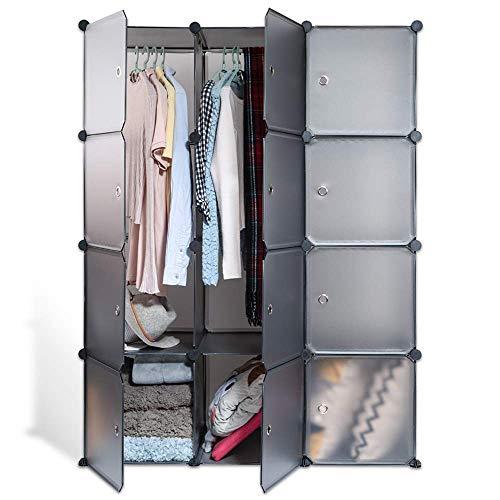 ECHILUCK Kleiderschrank Garderobenschrank Steckregalsystem platzsparender modularer Schrank für Kleidung, Bücher,...