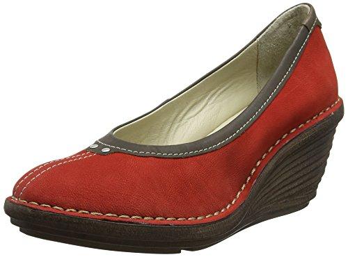 FLY London Sabi621, sandales compensées  Femme Rouge (Scarlet/Khaki 006)