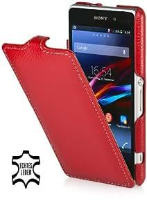 StilGut UltraSlim Case, Tasche aus Leder für Sony Xperia Z1 Compact, rot