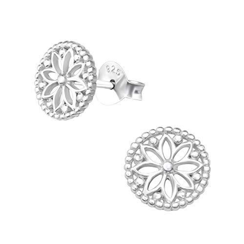 Laimons Damen-Ohrstecker Ohrringe Damenschmuck Mandala Scheibe Platte matt glanz Sterling Silber 925