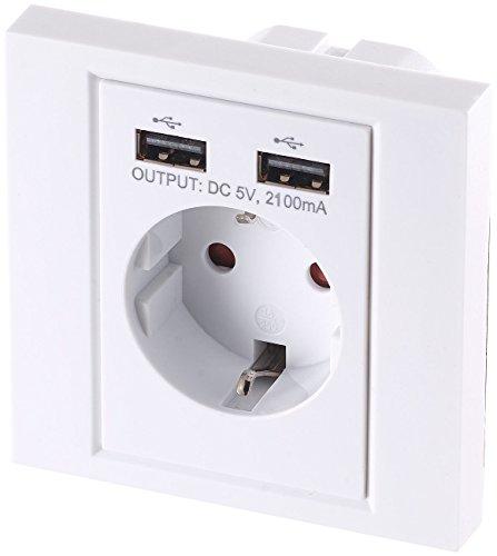 revolt Unterputzsteckdose: 2in1-Unterputz-Steckdose mit 2-fach-USB-Netzteil, 2,1 Ampere (Wandsteckdose) - Steckdose Wand-adapter Mit Überspannungsschutz